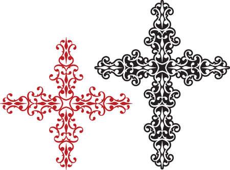 verschnörkelt: Christian Cross Design Vector Kunst