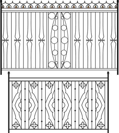 puertas de hierro: Puerta de hierro forjado, puerta, valla, ventana, Grill, Arte Barandilla de dise�o vectorial