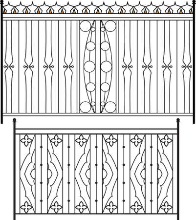 metal gate: Wrought Iron Gate, Door, Fence, Window, Grill, Railing Design Vector Art