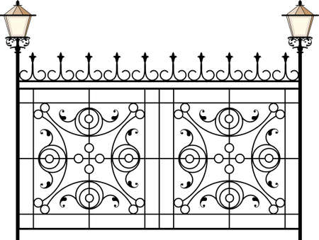 window grill: Wrought Iron Gate With Lamp Vector Art