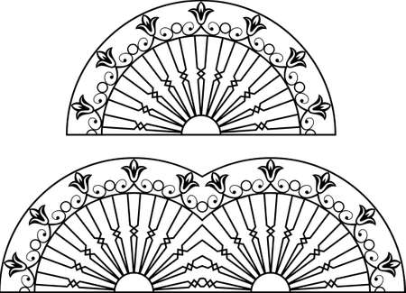 iron fence: Wrought Iron Grill, Gate, Door, Fence, Window, Railing Design Vector Art