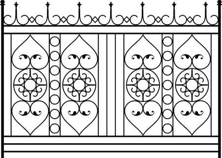 Wrought Iron Gate, Door, Fence, Window, Grill, Railing Design Vector Art