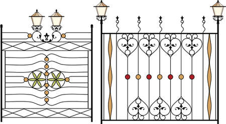 victorian fence: Wrought Iron Gate, Door, Fence, Window, Grill, Railing Design Vector Art