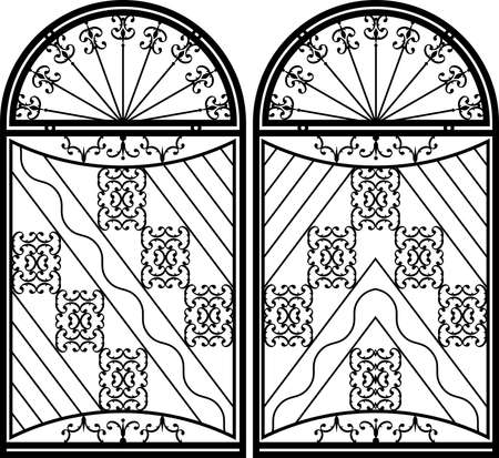 cast in place: Wrought Iron Gate, Door, Fence, Window, Grill, Railing Design Vector Art