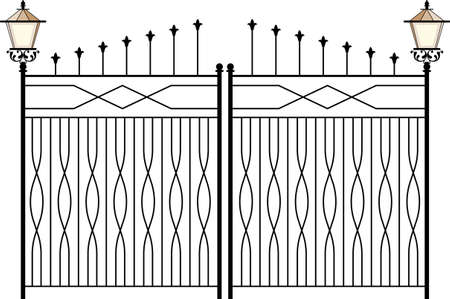 Puerta de hierro forjado, puerta, valla, ventana, Grill, Arte Barandilla de diseño vectorial