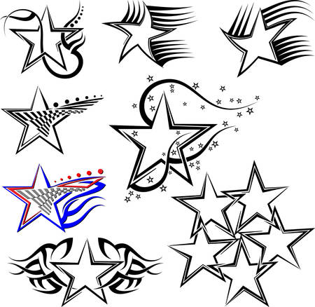 tattoo arm: Tattoo Star Design Vector Art Illustration