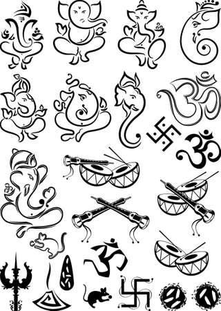 Arte Ganesha Colección Conjunto vectorial