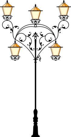 street lamp: Wrought Iron Street Lamp Post Vector Art