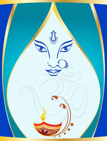 hindu god: Durga Goddess of Power Vector Art Illustration