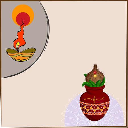 Diwali Greeting Mangal Kalash Vector Art