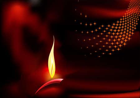 an oil lamp: Diseño de felicitación de Diwali Arte Vectorial