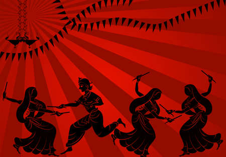 Garba Indian Dance Vector Art Vettoriali