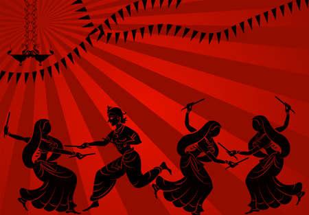 Garba Indian Dance Vector Art Vectores