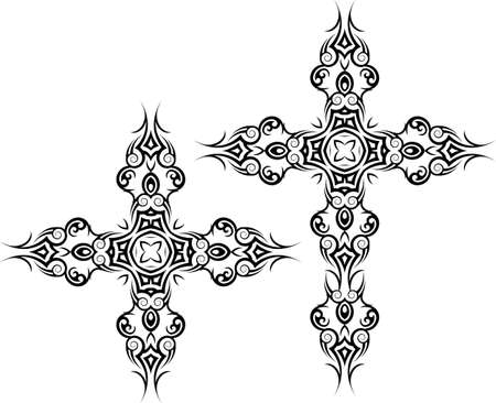 cruz religiosa: Arte Cruz cristiana de dise�o vectorial