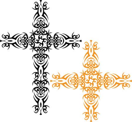 cruz religiosa: Arte Cruz cristiana de diseño vectorial