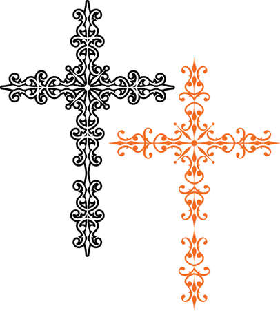 stock clip art icon: Cross Christian Design Vector Art