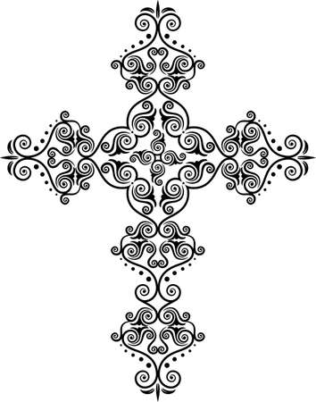 jesus on cross: Arte Cruz cristiana de diseño vectorial