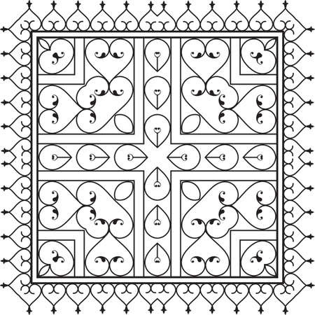 victorian gates: Wrought Iron Fireplace Grill Vector Art