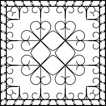 old window: Wrought Iron Fireplace Grill Vector Art