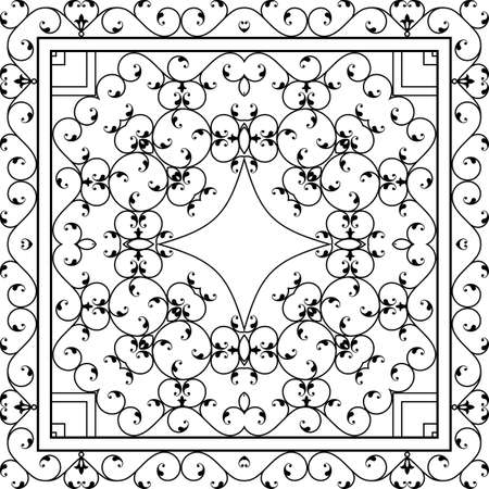 cast iron: Wrought Iron Fireplace Grill Vector Art