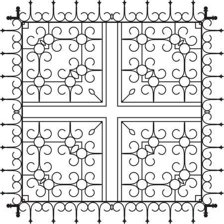 window grill: Wrought Iron Fireplace Grill Vector Art