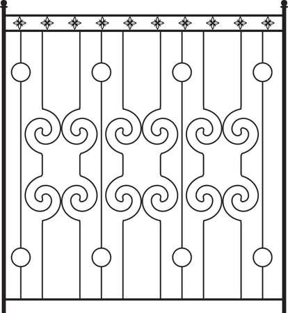 Puerta de hierro forjado, puerta, valla, ventana, Grill, Arte Barandilla de diseño vectorial Ilustración de vector