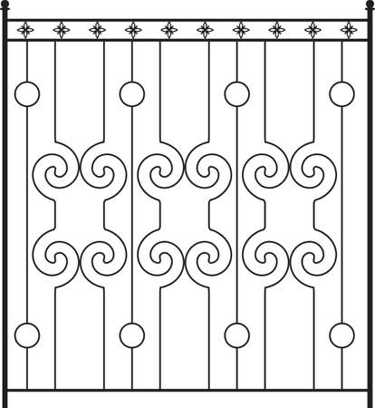 iron: Wrought Iron Gate, Door, Fence, Window, Grill, Railing Design Vector Art