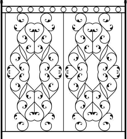 old window: Wrought Iron Gate, Door, Fence, Window, Grill, Railing Design Vector Art