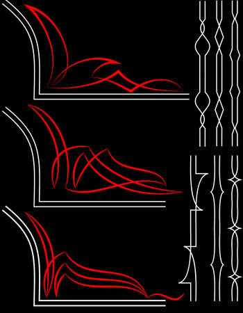 ready: Pinstripe Graphics, Corner : Vinyl Ready Vector Art Illustration