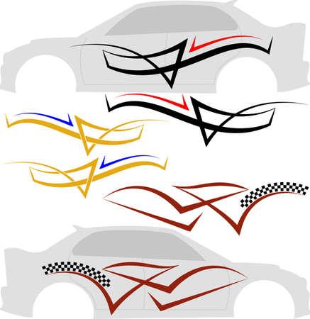 Grafica veicolo, Stripe: vinile pronto arte vettoriale Archivio Fotografico - 46747234