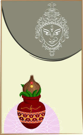 ghatashtapana: Durga Goddess of Power, Mangal Kalash Vector Art