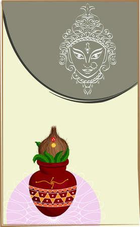 ghatashtapana: Durga Goddess of Power, Mangal Kalash Vector Art