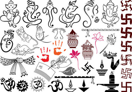 Ganesha Wedding Symbols Vector Art