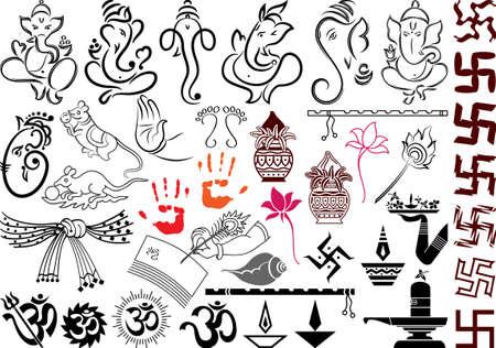 ganesh: S�mbolos de boda Ganesha arte vectorial Vectores