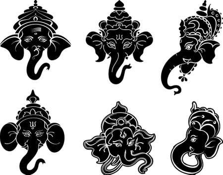 ganesh: Arte Ganesha Colección Conjunto vectorial