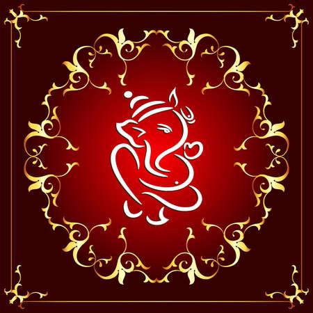 indian wedding: Ganesha The Lord Of Wisdom Vector Art Illustration