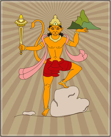 hindu god: Hanuman The Hindu Ape (Monkey) God Vector Art Illustration