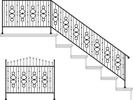 puertas de hierro: Arte Hierro forjado de escalera Baranda de dise�o vectorial Vectores