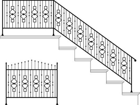 metal gate: Wrought Iron Stair Railing Design Vector Art Illustration