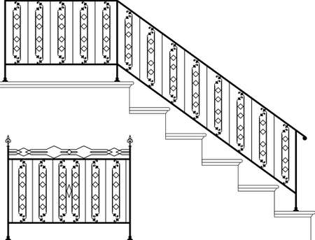victorian fence: Wrought Iron Stair Railing Design Vector Art Illustration