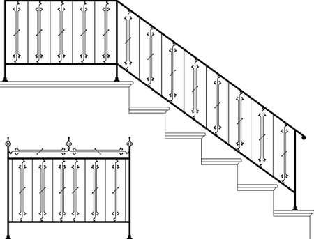 Arte Ferro Battuto Stair ringhiera disegno vettoriale Archivio Fotografico - 46865638