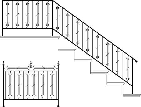 Wrought Iron Stair Railing Design Vector Art Illustration