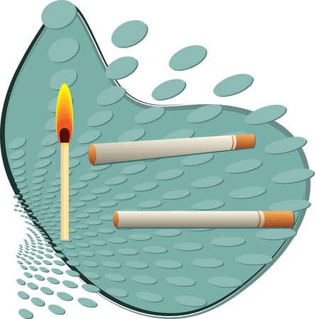 matchstick: Cigarette and Matchstick Vector Art Illustration