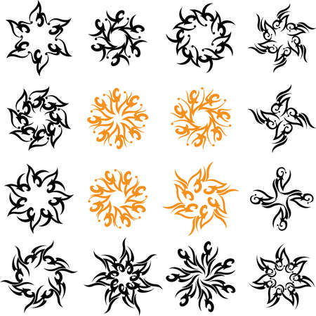 decorative lines: Tattoo Sun, Flame Tribal Design Vector Art
