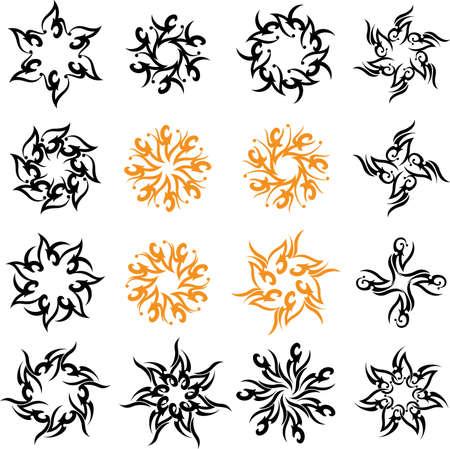 lineas decorativas: Tatuaje Sol, la llama tribal del diseño del arte del vector