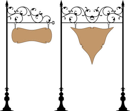 wrought: Wrought Iron Signage Vector Art