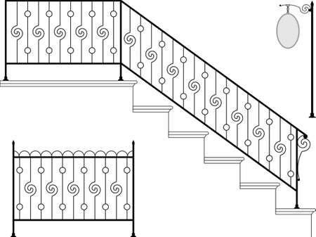 Wrought Iron Stair Railing Design Vector Art Illustration