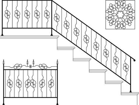cast iron: Wrought Iron Stair Railing Design Vector Art Illustration