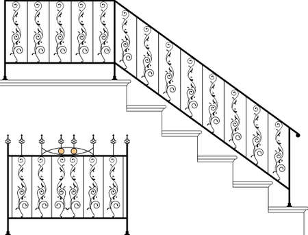 Wrought Iron Stair Railing Design Vector Art Royalty Free Cliparts,  Vectors, And Stock Illustration. Image 46865733.