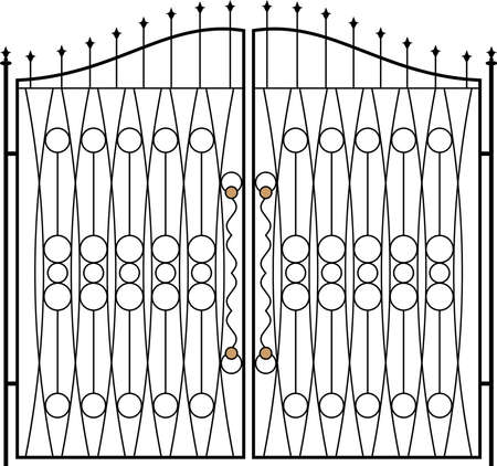 art deco border: Wrought Iron Gate, Door, Fence, Window, Grill, Railing Design Vector Art